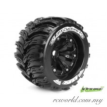 "Louise MT-CYCLONE 1/8 3.8"" Monster Truck Tires TRAXXAS Bead SPORT / Black 1/2 Offset Rim (L-T3220BH) - 2pcs"
