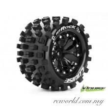 "Louise MT-ROCK 1/10 2.8"" Tires - TRAXXAS Bead Soft Compound / Black 1/2 Offset Rim (L-T3275SBH) - 2pcs"