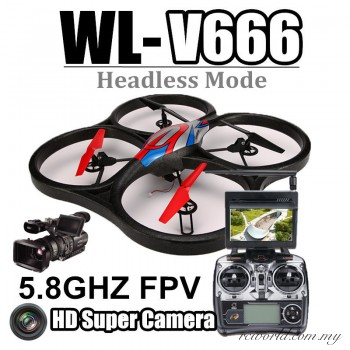 WL Toys V666 5.8G FPV 6 Axis RC Quadcopter With 1080p HD Camera Monitor